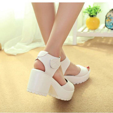 Cute Faux Leather Wedge Shoes