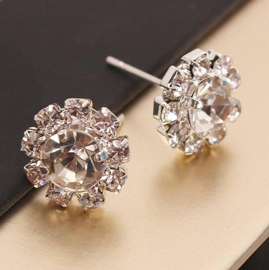 Sparkling Rhinestone Stud Earrings