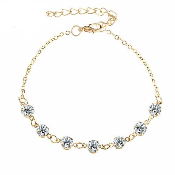 Crystal Link Chain Anklets