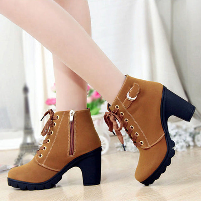 Lace-up High Heeled Boots