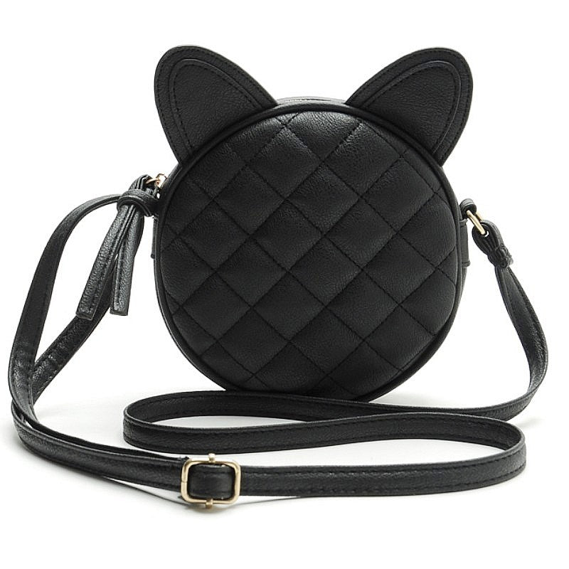 Black Cat Eared Faux Leather Quilted Shoulder Bag