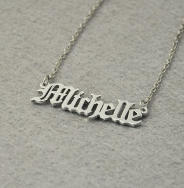 Personal Custom Engraved Gothic Name Necklace