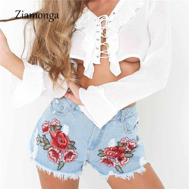 Embroidery Denim Frayed Shorts