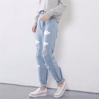 Cloud Print Vintage Ripped Jeans