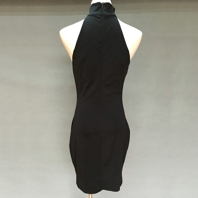 Low Cut Black Bodycon Dress