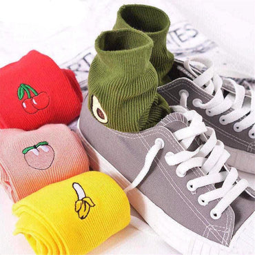Embroidery Fruit Print Socks
