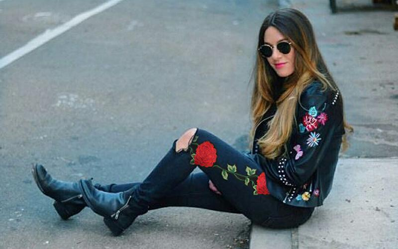 Floral Embroidery Ripped Black Jeans