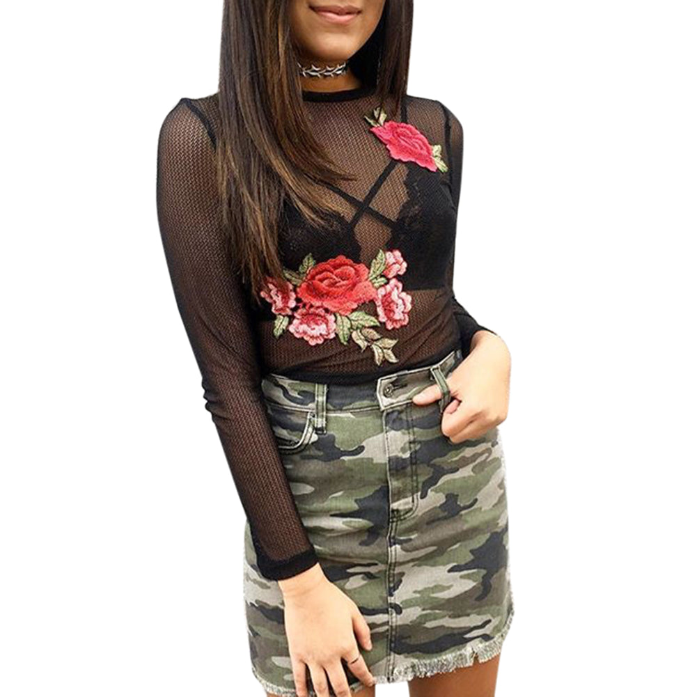 Elegant Embroidery Mesh Crop Top