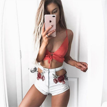 Rose Embroidery Denim Shorts