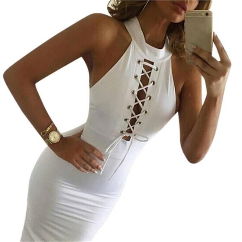 Tie Up White Party Dress