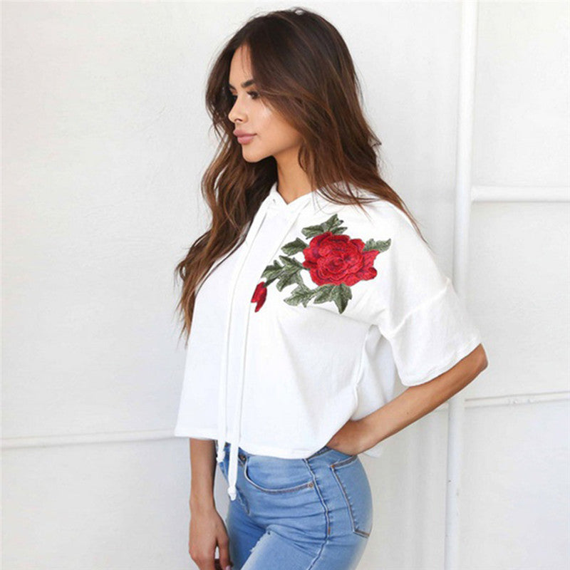 Floral Rose Embroidery Sweatshirt