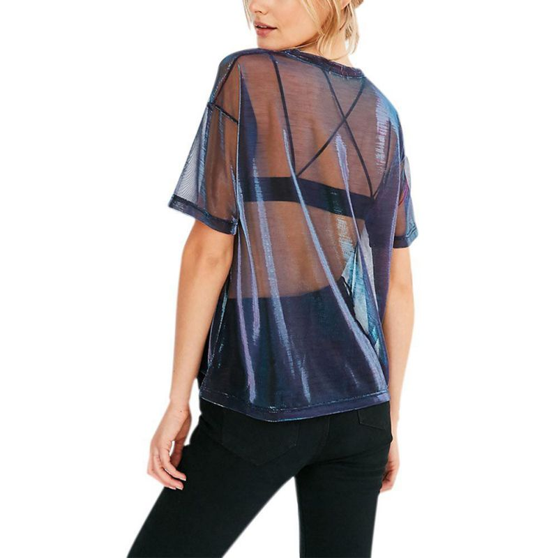 Mesh Shine See-Through Top