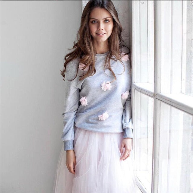 3D Floral Patch Pullover Sweater