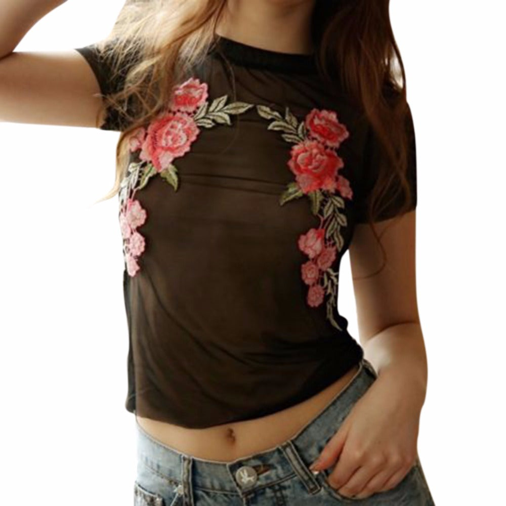 Pink Flower Embroidered Mesh Top