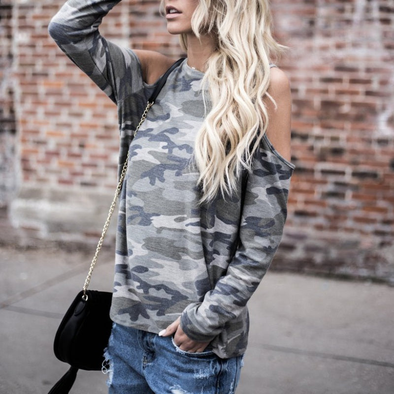 Loose Off-Shoulder Camouflage Tee