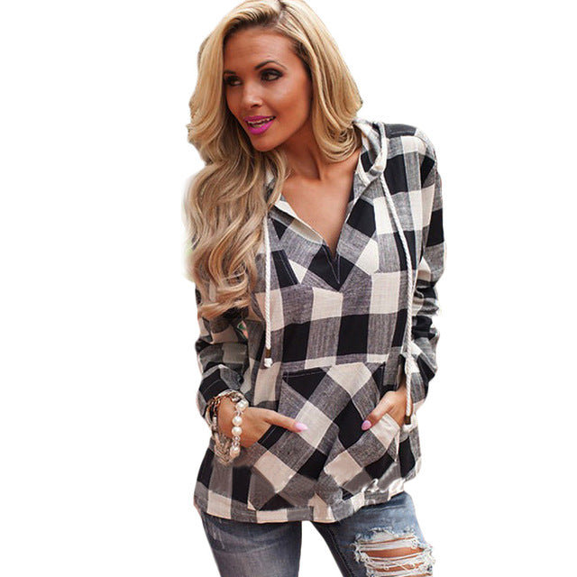 Plaid Cotton Over Sized Hoodie
