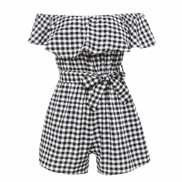 Plaid Off Shoulder Romper