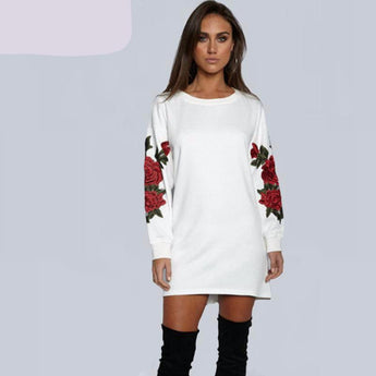 Embroidered Rose Dress Pullover