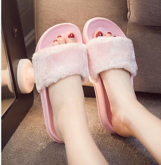 Plush Faux Slippers