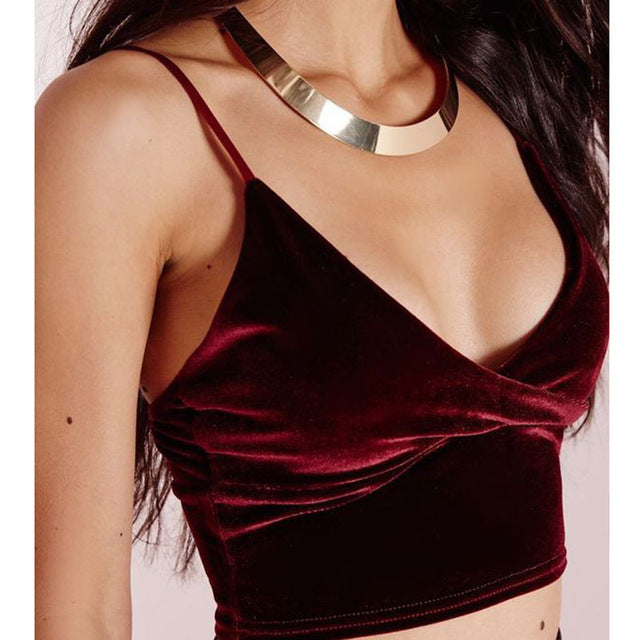 Velvet Crop Top Cami