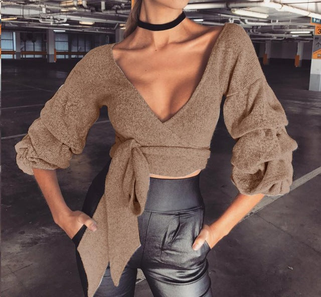 V-Neck Knitted Puff Sleeve Top