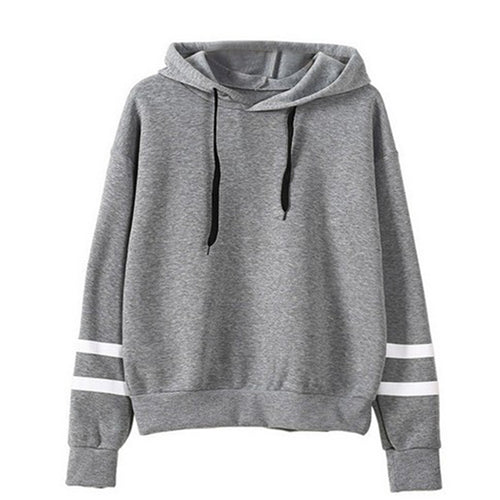 Warm Striped Hooded Sweatshirt
