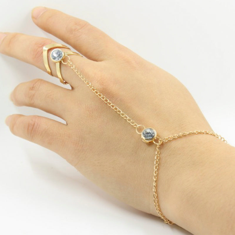Rhinestone Connected Finger Bracelet
