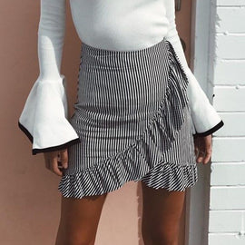 High Waist Flared Pleated Mini Skirt