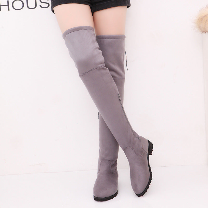 Suede Slim Over the Knee Boots