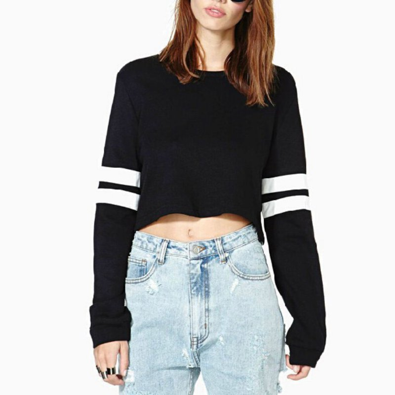 Long Sleeve Striped Cropped Pullover