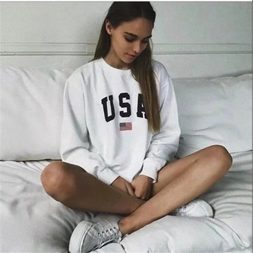 USA Letter Print Pullover