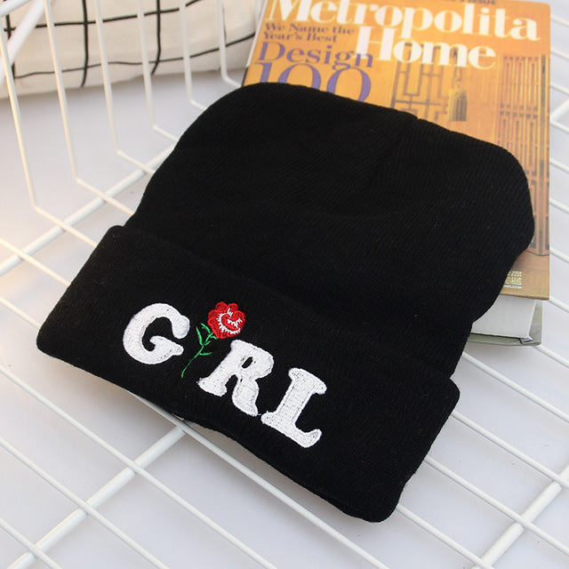 Girl Embroidery Beanie