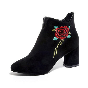 Rose Embroidery Thick Heel Shoes