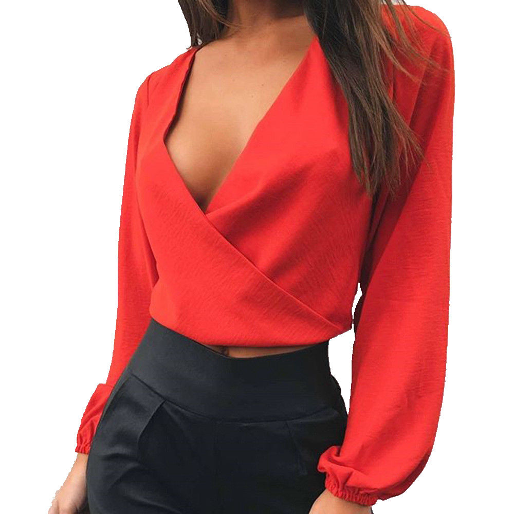 V-Neck Backless Loose Crop Top