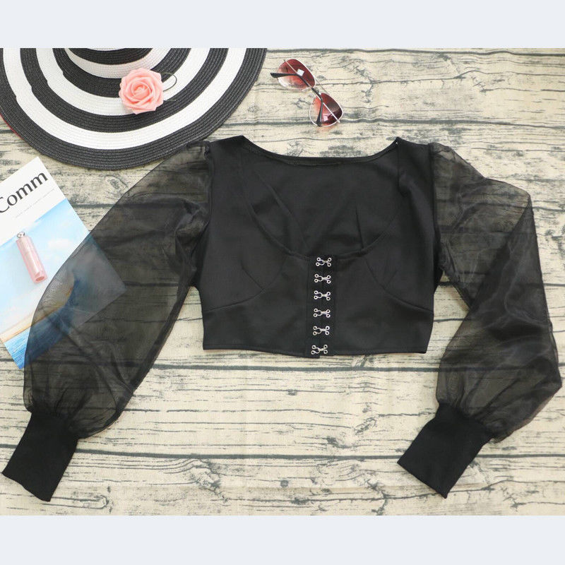 Mesh Puff Sleeve Crop Top (1)