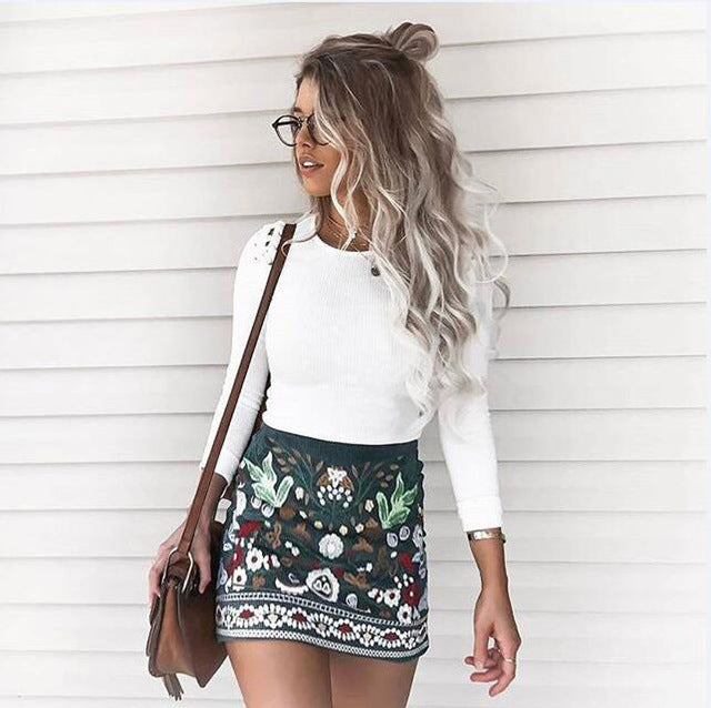 Multi Print Mini Skirt