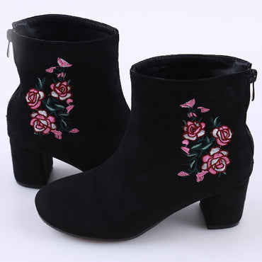 Flower Embroidery Ankle High Shoes