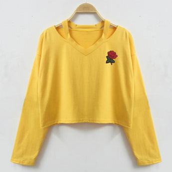 Rose Embroidered Pullover