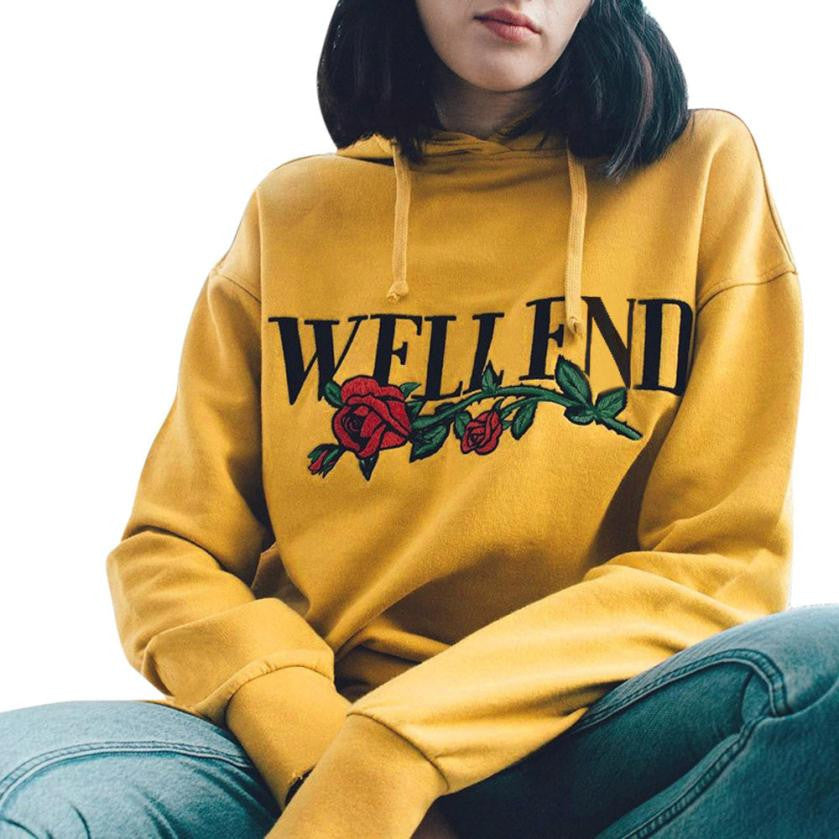 Well End Yellow Print Hoodie