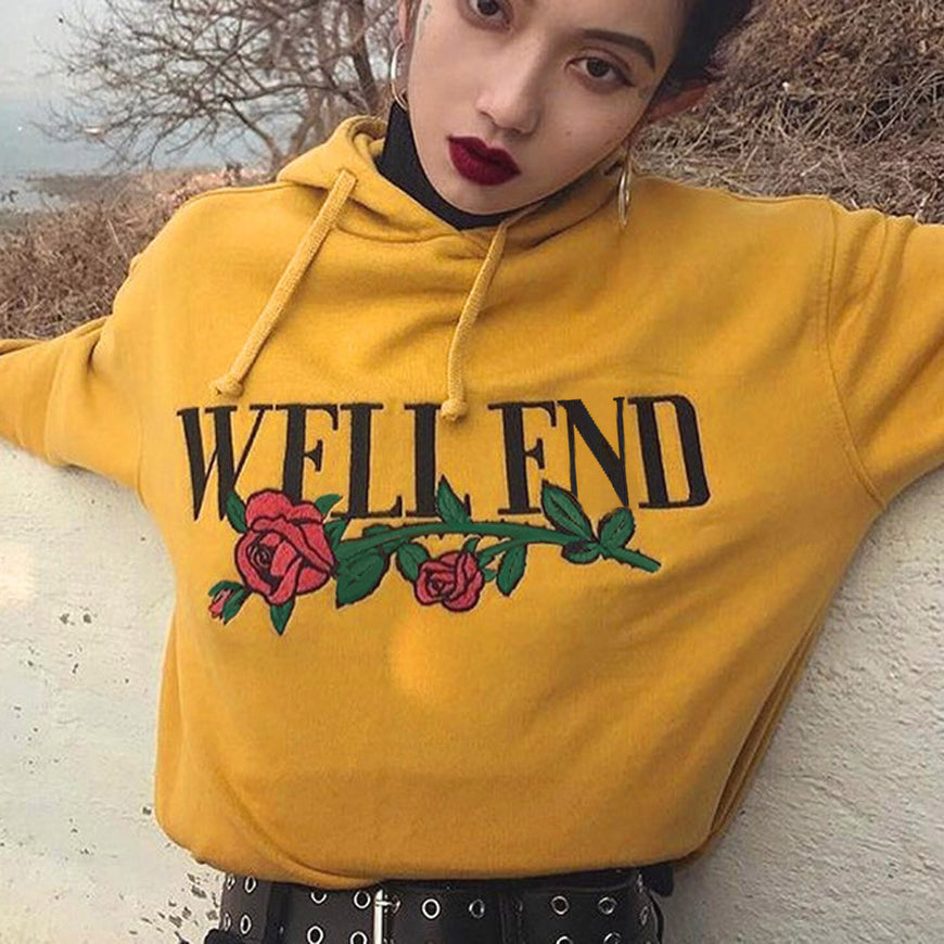Well End Yellow Print Hoodie (2)