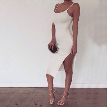 Casual White Mini Split Dress