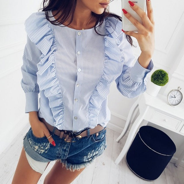 Pleated Long Sleeve Blouse