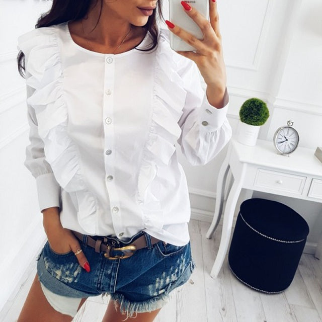Pleated Long Sleeve Blouse (2)