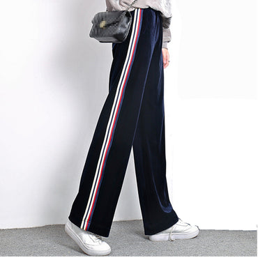 Velvet Side Stripe Pants