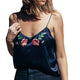 Flower Embroidery Silk Tank Top