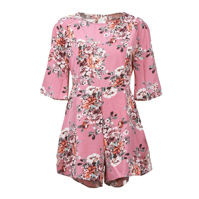 Floral Printed Blackless Romper