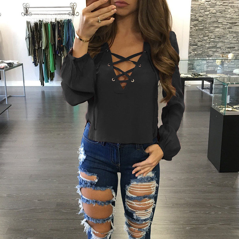 Casual Lace Up Blouse