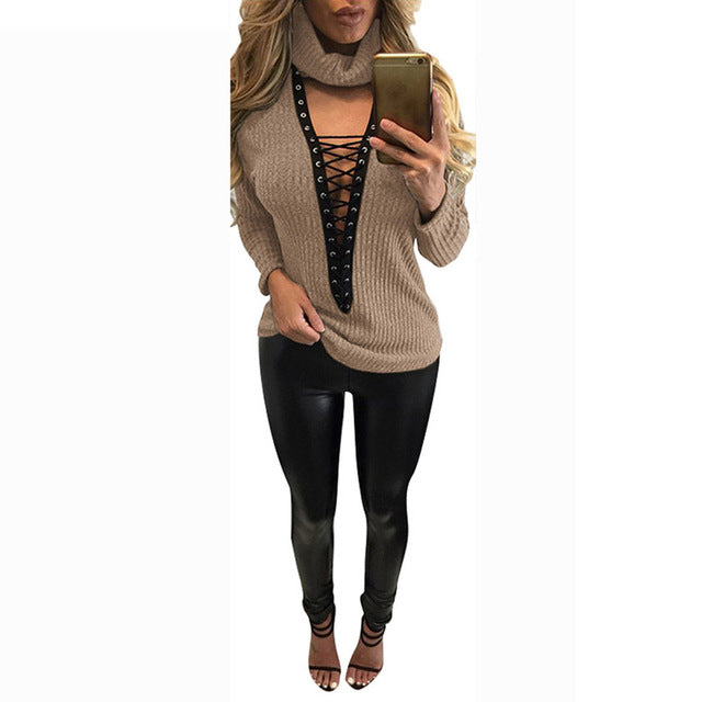 Deep V-Neck Lace Up Sweater