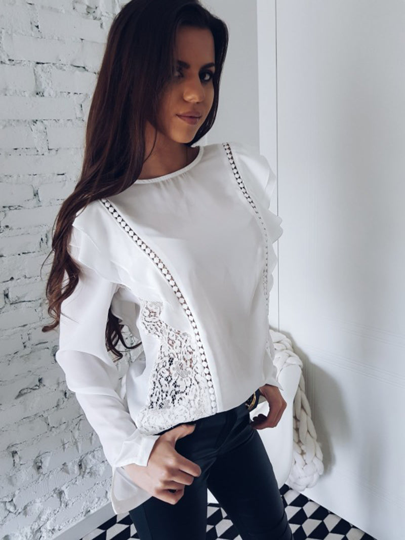 Lace Hollow Stitched Blouse (2)
