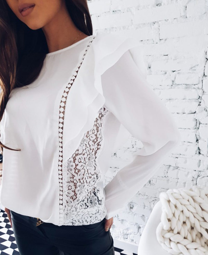 Lace Hollow Stitched Blouse